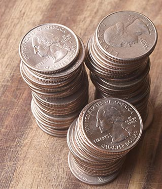 A stack of quarters